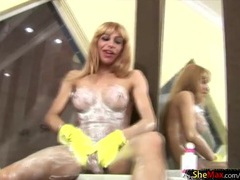 Tranny tits and ass are hot covered in lotion videos