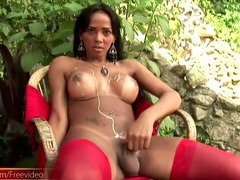 Red lingerie dazzles on a latina shemale videos
