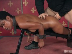 Rough strapon and cock fucking for a bound black girl videos
