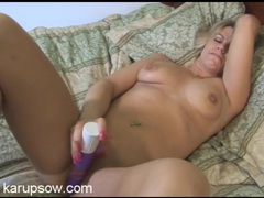Purple dildo fucking her hot cunt in close up tubes