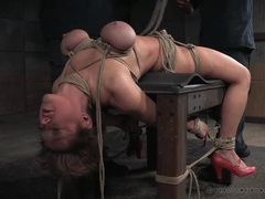 Big boobs turn purple in rope bondage videos