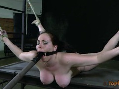 Big tits chick bound by rope and loving the suffering videos