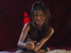 Asian grabs his cock and strokes it sensually tubes at asian.sgirls.net