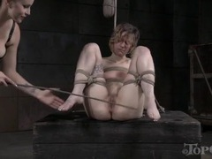 Tied girl slapped on the pussy and caned on the ass clip