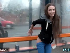 Beautiful girl has fun playing in public movies at find-best-babes.com