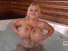 Solo babe with huge fake titties in the hot tub movies at find-best-ass.com