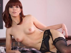 Stockings and garter belt on a hot english redhead videos