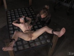Mistress has fun playing with this skinny bound girl videos