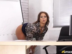 Secretary opens her legs and flashes her sexy panties tubes