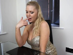 Sexy girl in a sparkly dress wants you to stroke to her videos