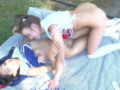 Pretty cheerleading teens kissing tits in the grass videos