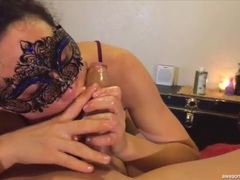 Slippery stroking and sucking from a masked goddess videos