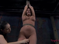 Bdsm sub girl with a tight shaved pussy gets flogged movies at lingerie-mania.com