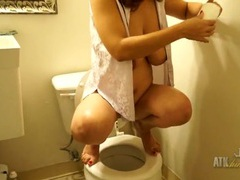 Mom squats on the toilet and takes a piss movies at sgirls.net