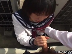 Handjob quickie from a cute japanese schoolgirl tubes