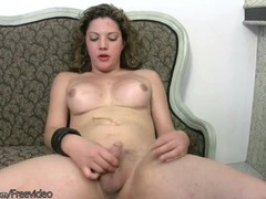 Curvy tgirl lubes up her dick and strokes videos