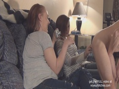 Cfnm teens play with flasher videos