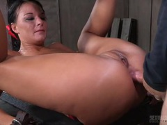 Slave in bondage fucked up the ass tubes