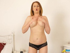 Skirt and blouse makes for a breathtaking striptease videos