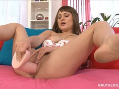 Chubby brunette scarlet creams on a thick white dildo videos