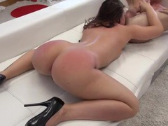 Slut goes down on his asshole after a good fucking movies at lingerie-mania.com