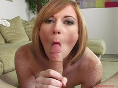 Sultry freckled girl wraps her lips around a dick videos