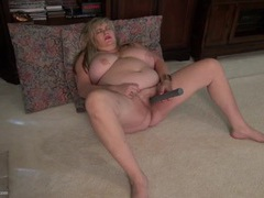 Plump old slut with a hairy cunt loves her toy videos