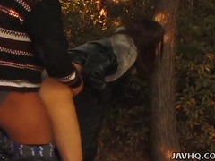 Slut bent over a tree and fucked in the woods videos