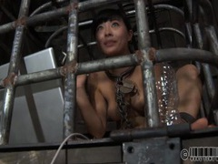 Asian in a cage uses her tongue as an ashtray tubes at asian.sgirls.net