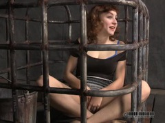 Slave in a cage dresses up as a hooker movies
