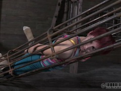 Redhead placed in a cage by her master videos