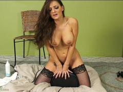 Gorgeous milf in fishnets rides her sybian dildo movies at lingerie-mania.com
