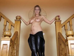 Tight and shiny catsuit on a big breasted british girl videos