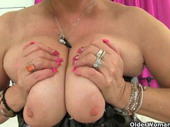 Uk milf christina x finger fucks in pvc and nylon tights videos