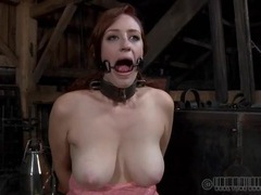 Big tits redheaded chick in a sexy metal collar videos