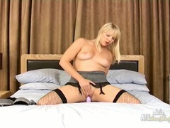 Sexy chick in fishnets fucks a purple dildo movies at find-best-videos.com