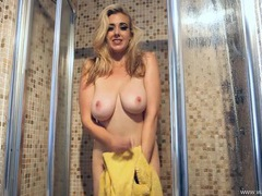 Busty girl fingering her hot box in the shower videos