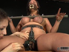 Kinky girl in sexy bondage loves the pain videos