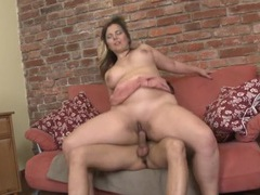 Bbw cocksucker sits her snatch down on him videos