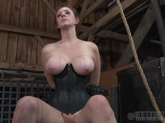 Leather corset and collar on a hot redheaded chick movies