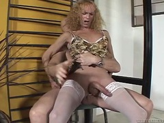 Tranny rides his dick and gets a reach around videos