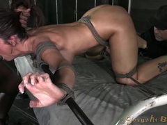 Great rope bondage of a spit roasted girl movies at lingerie-mania.com
