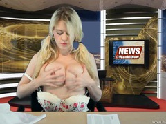Babe reading the news and stripping erotically videos