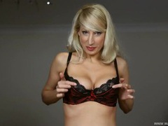 Hot bras modeled by a big breasted blonde girl movies at lingerie-mania.com