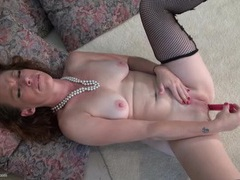 Fishnet set is a treat on a masturbating mommy videos