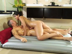 Naked oiled massage makes his dick hard for her movies