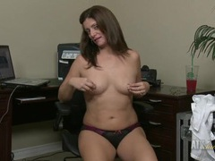 Hot panties on a sexy milf sitting in the office tubes
