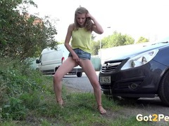 Quick public piss with a babe in a miniskirt videos