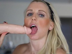 Dirty talking blue eyed beauty sucks a dildo movies at find-best-babes.com