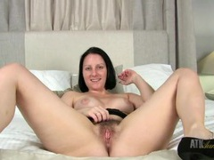 Cute milf in lace flashes her hairy bush videos
